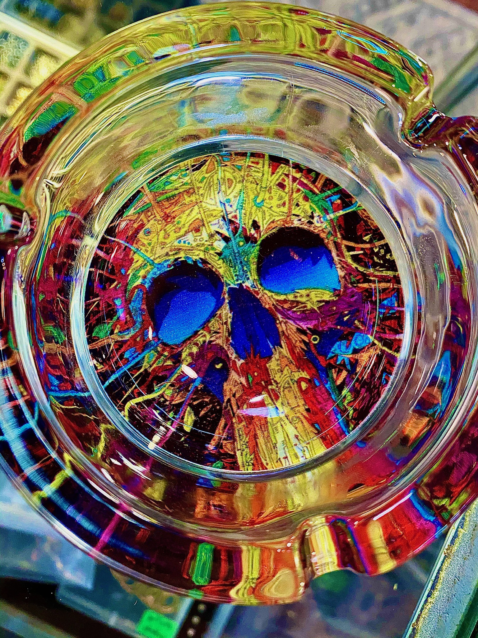 Glass tray wih colorful skull design on the bottom