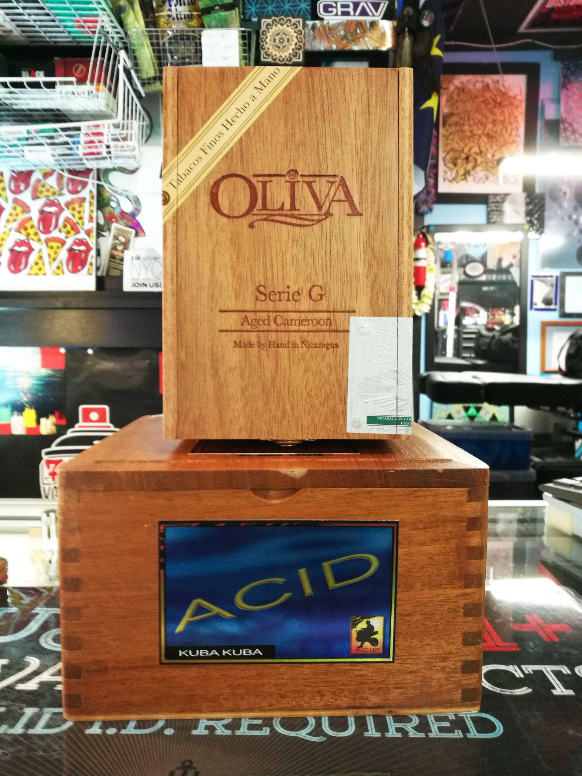 Olivia and ACID cigar boxes
