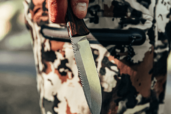 Hunting knife, silver-colored blade with brown handle